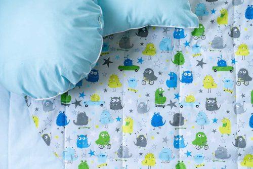 Круглый игровой коврик с подушкой звездочкой «Веселые монстры»