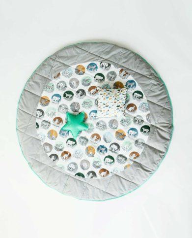 Игровой напольный, круглый матик с подушкой «Дикий мир»