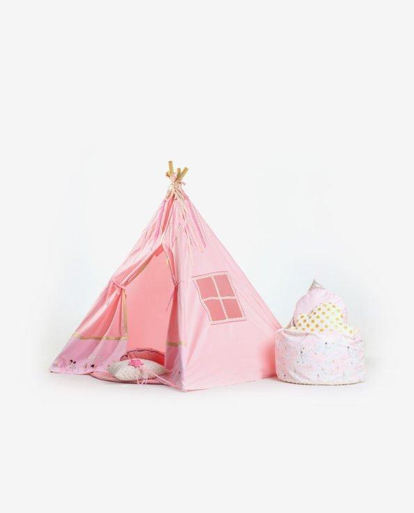 Детский вигвам (розовый) - вид сбоку
