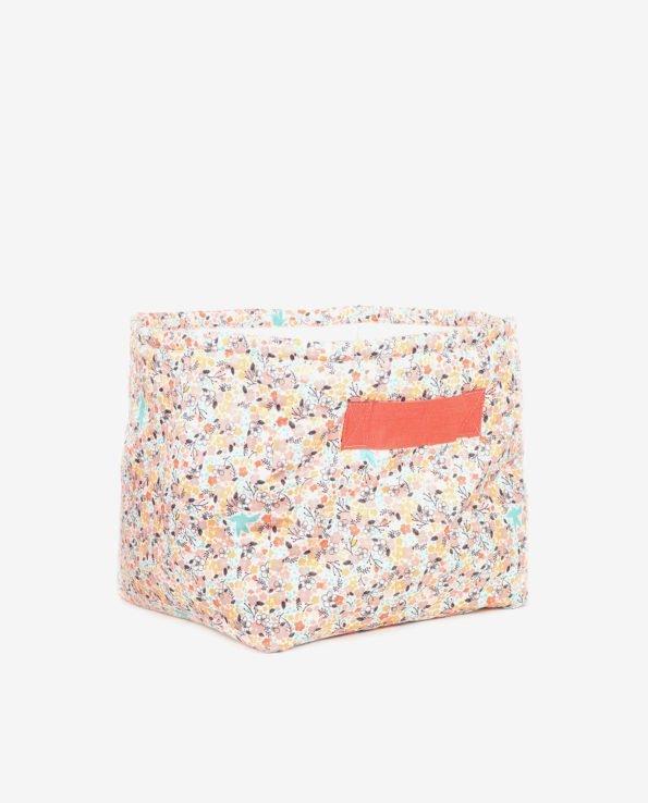 Корзина для игрушек из ткани с цветами