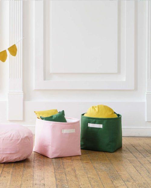 Однотонные корзинки - розовая и зеленая